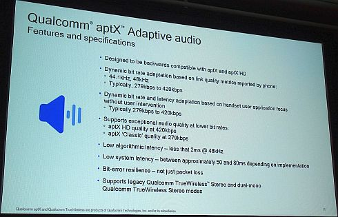 「aptX Adaptive」の仕様