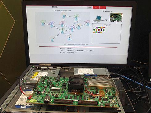 FPGAボードに実装したCMOSアニーリングマシンを用いたデモの様子