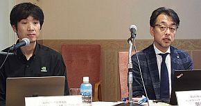 エヌビディアの佐々木邦暢氏(左)とMathWorks Japanの阿部悟氏(右)