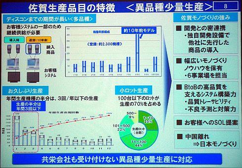 佐賀工場の特徴は「異品種少量生産」だ