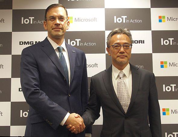 日本マイクロソフトの平野拓也氏(左)とDMG森精機の川島昭彦氏(右)