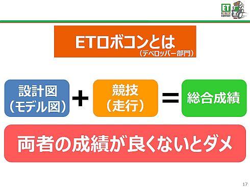 ETロボコンのデベロッパー部門は、モデル審査と競技、両者の総合成績が求められる