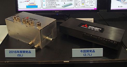 2017年5月発表の「HEV用超小型SiCインバーター」(左)と今回披露したハイブリッド車用パワーユニット(右)のサイズ比較