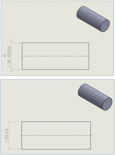 サイズ形体が円筒形状 ISO標準指定演算子 サイズの基本的なGPS指定の例