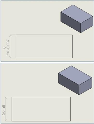 サイズ形体が相対する平行2平面 ISO標準指定演算子 サイズの基本的なGPS指定の例
