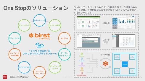 データ抽出や準備、レポート設計、可視化といった一連のプロセスをワンストップで提供する「Birst」