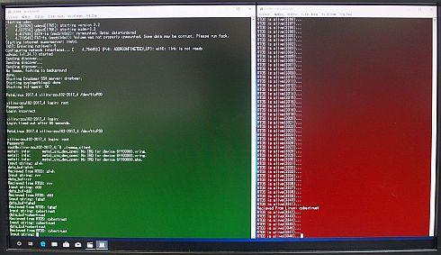 画面左側が組み込みLinux、同右側がRTOSの状態を示している