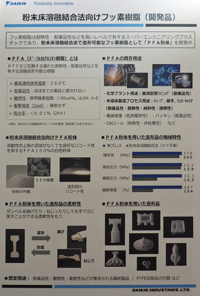 アスペクトのブースに展示されていたダイキン工業のフッ素樹脂「PFA粉体」の説明パネル