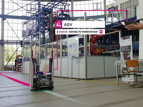 オスラムの工場におけるプライベートLTEを活用したAGVのイメージ