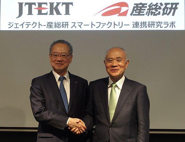 ジェイテクトの須藤誠一氏(左)と産業技術総合研究所の中鉢良治氏(右)