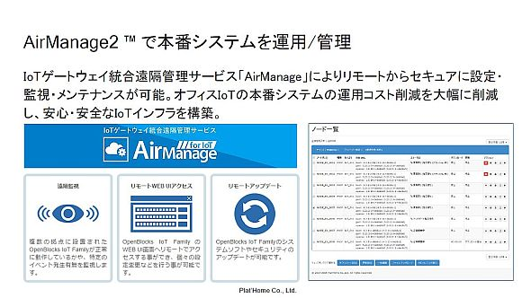 「Airmanage2」の機能