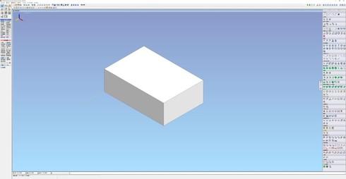 図3 「iCAD SX」で座標(0、0、0)を基準に矩形形状モデルを描いた例
