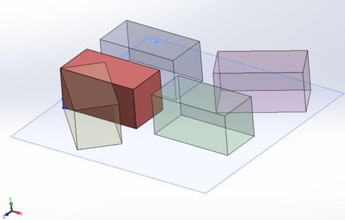 図5 平面上に置かれた直方体形状のモデル