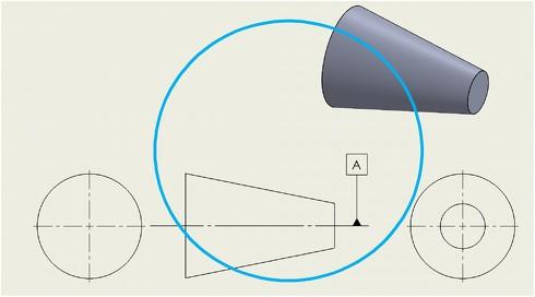 テーパ形状の軸線をデータムにして良い例(JIS規格を参考に作成)