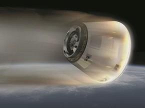 回収機能付加型HTV(HTV-R)構想のカプセル再突入イメージ図
