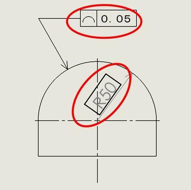 図3 2次元図面での例(線の輪郭度)