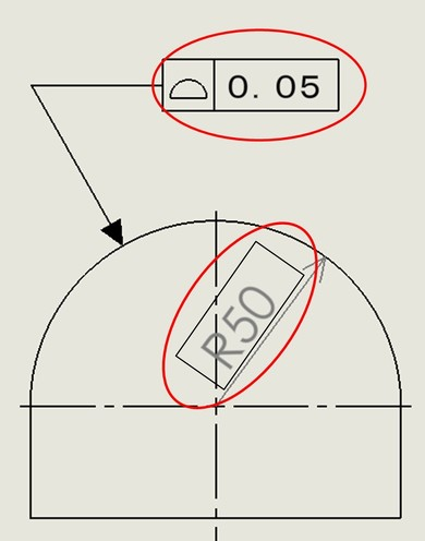図5 2次元図面での例(面の輪郭度)