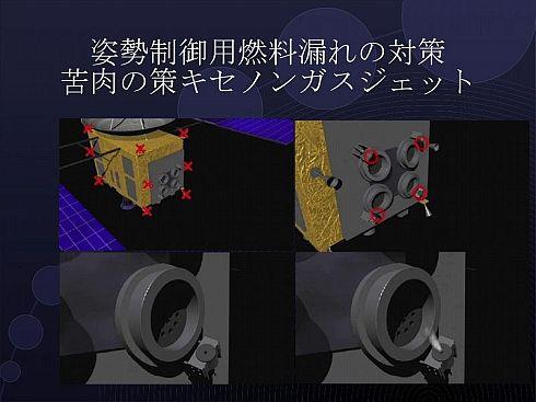 中和器からキセノンガスを噴射すると、わずかながら推力が発生する