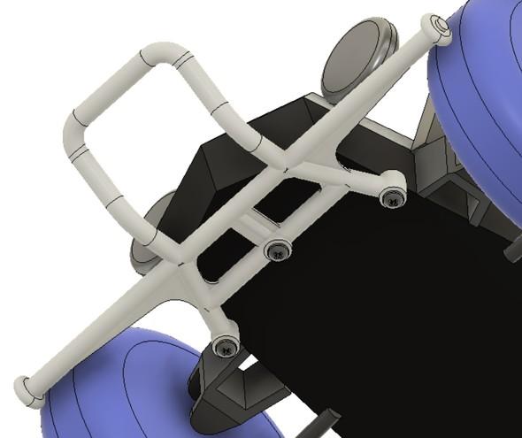 バンパーはシャシーの裏面からボルト3つで締結する