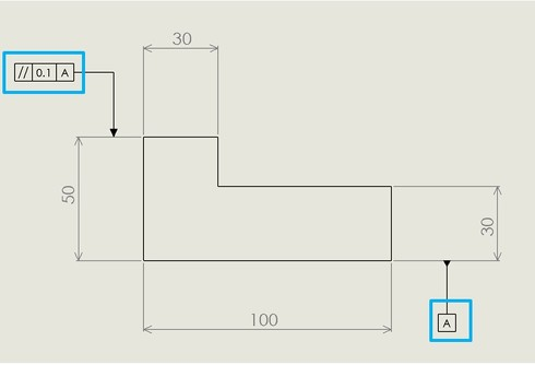 図9 平面形体のデータム平面に対する平行度の図面記入例