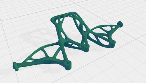 ジェネレーティブデザインを施した電動RCカーのバンパー部品