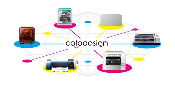 さまざまなデジタル加工機とつながり、デザイン作成から受注、印刷、販売までの一連のオペレーションが行える「cotodesign」