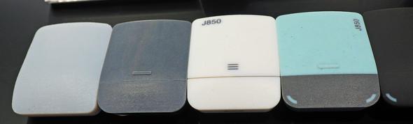 J850の造形サンプルの1つ(イヤフォンケース)。一番左がDraftGreyを用いたSuper High Speed Modeでの造形サンプル