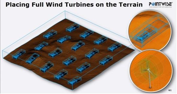 風力発電設備のメッシュ生成の事例(出典:ヴァイナス)