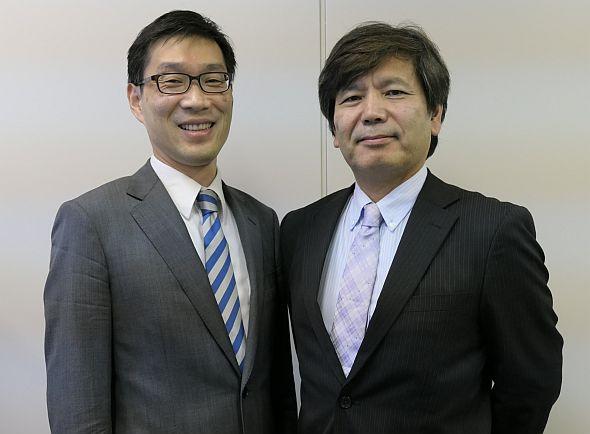日立製作所の場家康雄氏(左)と森田浩隆氏(右)