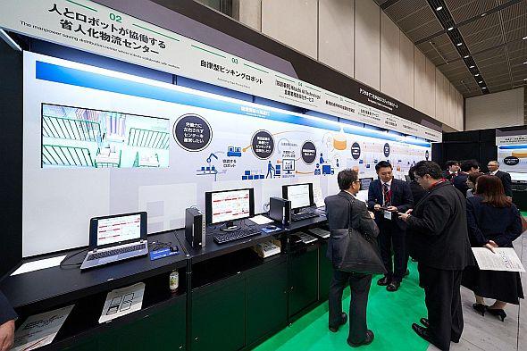 「Hitachi Social Innovation Forum 2019 TOKYO」展示会場のロジスティクスコーナー