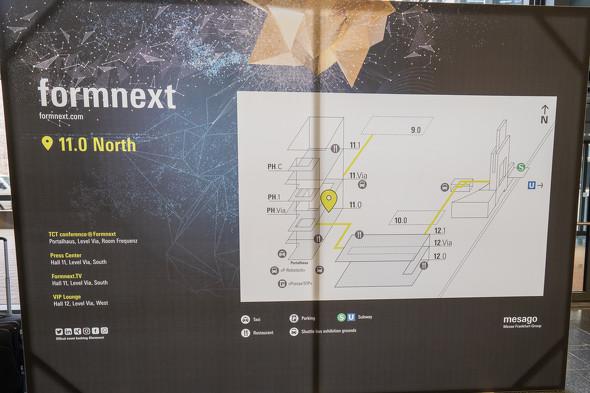 「formnext 2019」のフロアマップ。今年は4つのフロアで展示が行われた