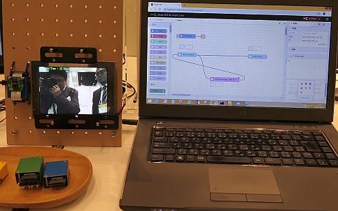シマフジ電機が参考展示した視覚的プログラミングツールのデモ