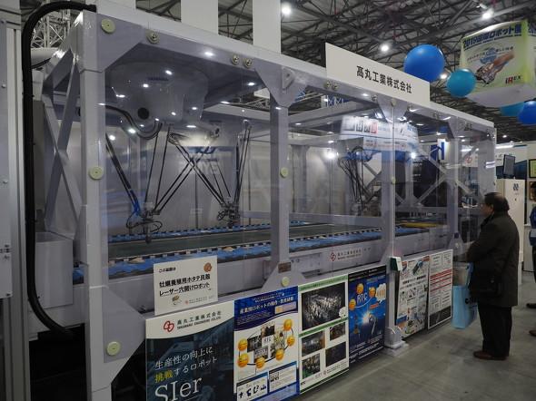 高丸工業が開発した「カキ養殖用ホタテ貝殻レーザー穴開けロボット」