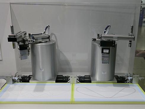 ミネベアミツミが展示したロボット用モーターソリューションのデモ展示