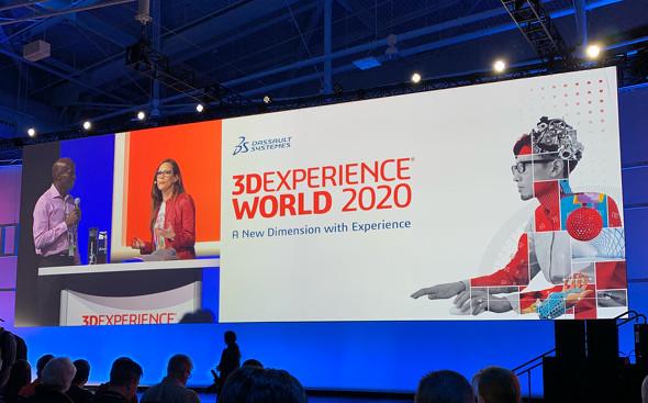 「3DEXPERIENCE World 2020」のゼネラルセッション会場の様子