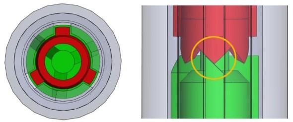 回転子のリブとノック棒のギザギザの位置関係