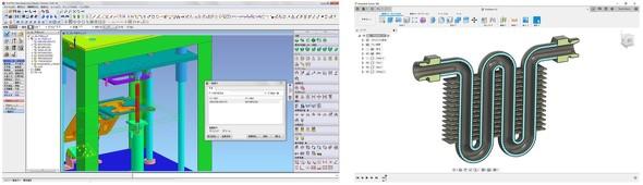 (左)「iCAD SX」による干渉検証/(右)「Fusion 360」による断面検証