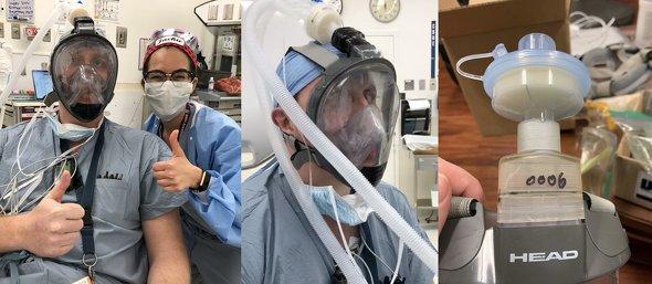 シュノーケル用フルフェイスマスクを呼吸器に適合させるための変換アダプター