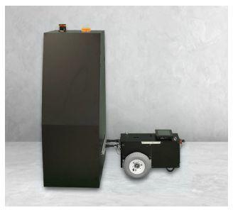 自律走行式ひび割れ検査ロボットの撮影装置(左)と走行台車(右)[クリックして拡大]出典:イクシス