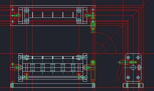 図6 正面図、右側面図、平面図を描き上げた状態