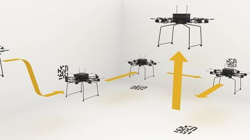 MarkFlex Airは機体に取り付けられたカメラとセンサーでQRコードを読み取って指示通りに飛行する[クリックして拡大]出典:Spiral
