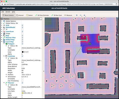 ロボットの情報を視覚化するツールrvizの画面。これもAWS RoboMaker シミュレーターの標準提供ツールの1つ[クリックして拡大](c)2020 Amazon Web Services Inc. or its affiliates. All rights reserved.