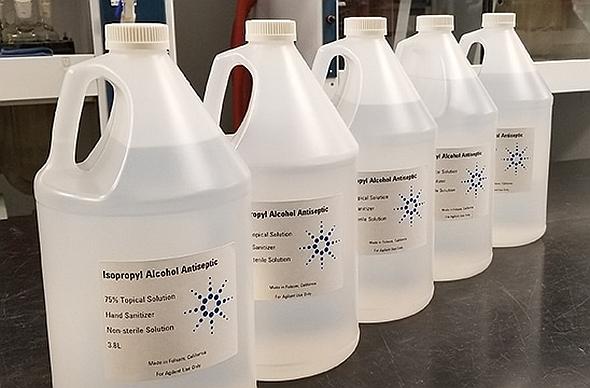 アジレントが生産した手指除菌用アルコール