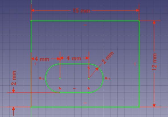 図4 長円に寸法を記入。完全拘束になった(緑色の線になる)