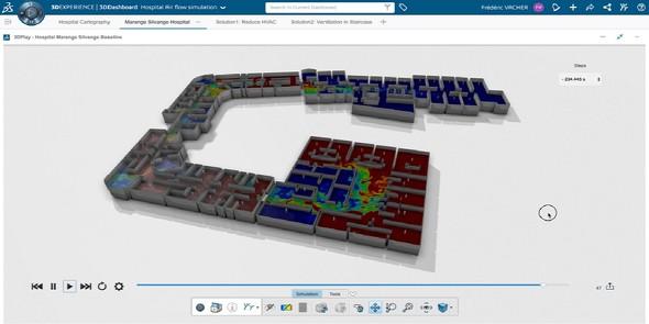 平面図を基に作成したサン・フランソワ病院の3Dバーチャルモデル