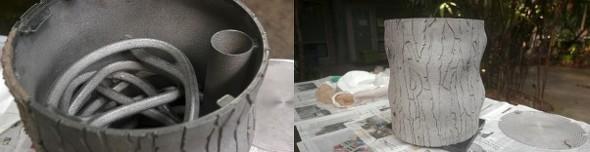 金属3Dプリンタで造形された餌やり器の内部と設置イメージ