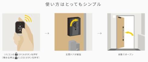 リモコンのボタン操作だけで、鍵の施錠と解錠からドアの開閉までを自動で行える