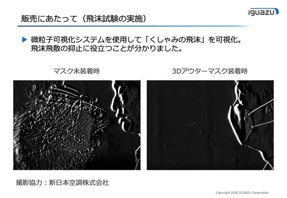 新日本空調の協力の下、実施した飛沫試験の様子