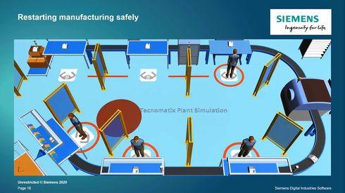 作業員の距離を測定して感染リスクの少ない生産現場を実現する[クリックして拡大]出典:Siemens Digital Industries Software