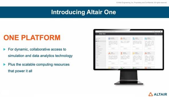 Altair Oneは製品ダウンロード、ライセンス管理、サポート、コミュニケーション、アプリケーション実行などが可能なクラウドプラットフォームである ※出典:アルテアエンジニアリング